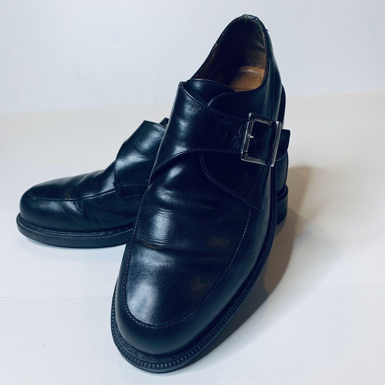 Johnston & Murphy Mens Shoes Monk Strap Loafer 10.5 M Black Leather