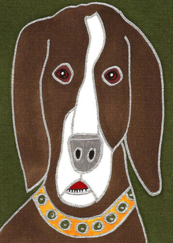 Venne Canvas Giclee ACEO Print Brown Hound Dog