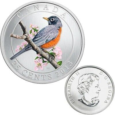 American Robin 2013 CANADA 25 cent Coloured Coin coin only