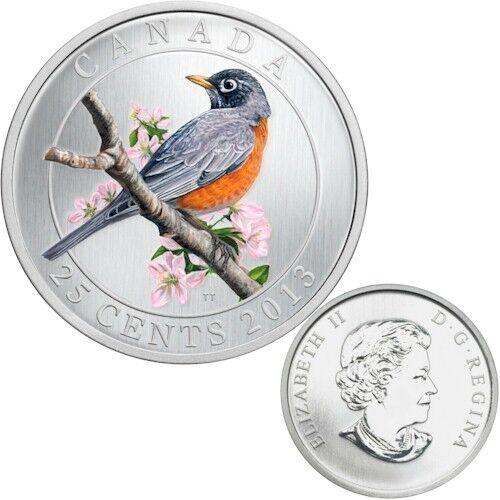 2013 Canada 25 cent Coloured Coin - American Robin