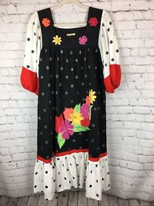 Ramona-Rull-VTG-3D-EMBROIDERED-COTTON-CAFTAN-FESTIVAL-DRESS-w-Mirrors-Pockets