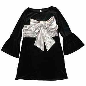 e0aaad1a23bf Junior Womens Black & Silver Velvet Bow Holiday Dress Ugly Christmas ...