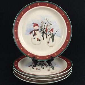 Set-of-4-VTG-Dinner-Plates-by-Royal-Seasons-Stoneware-Snowmen-RN2-Christmas