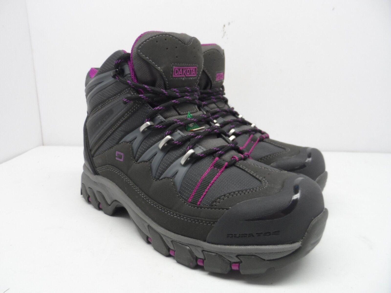 DAKOTA Women's Mid-Cut Steel Toe Steel Plate Hiking Boots Grey Purple Size 6W