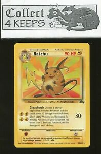 Holo Rare 1x Raichu Fossil Unlimited Edition NM-Mint Pokemon G1 14//62