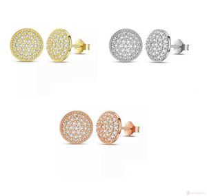 925-Sterlingsilber-Ohrringe-Damen-Ohrstecker-Rund-Kreis-Rosegold-Silber-Gold-NEU