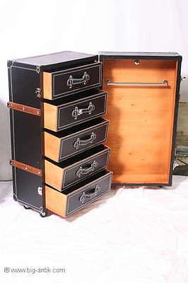 Schrankkoffer / Kommode / Container / Überseekoffer / Holzleisten / 5 Schubladen