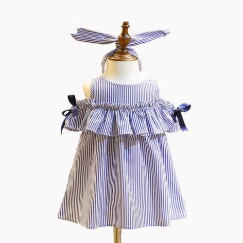 Striped Off Shoulder Girl Dress Ruffles Summer Dresses Children Fashion Clothing