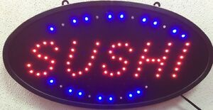 SUSHI LED OPEN Sign Animated with Power swicth on/off button oval