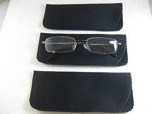 LOT-of-THREE-All-BLACK-Neoprene-Eyeglass-Soft-Reading-Glass-Cases-Pouch