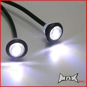 White 12v Round Flush Mount Led Mini Marker Lights Ebay