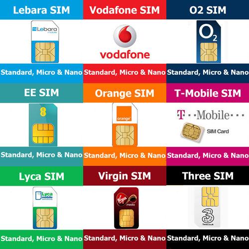 SIM Cards STD, Micro Nano For All Networks Vodafone O2 T-Mobile Orange EE Three