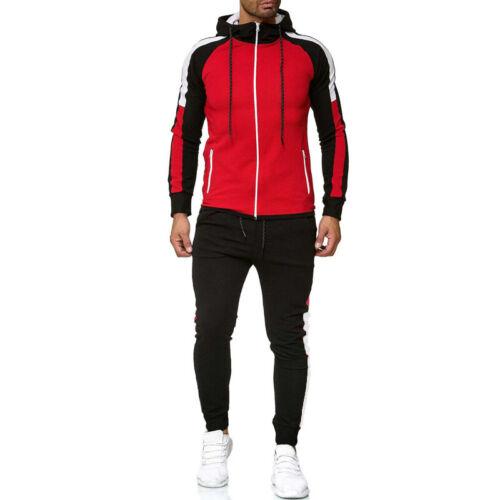 US Men Tracksuit Jogging Hoodie Coat Jacket+Trousers Pants Sports Sweat Suit Set