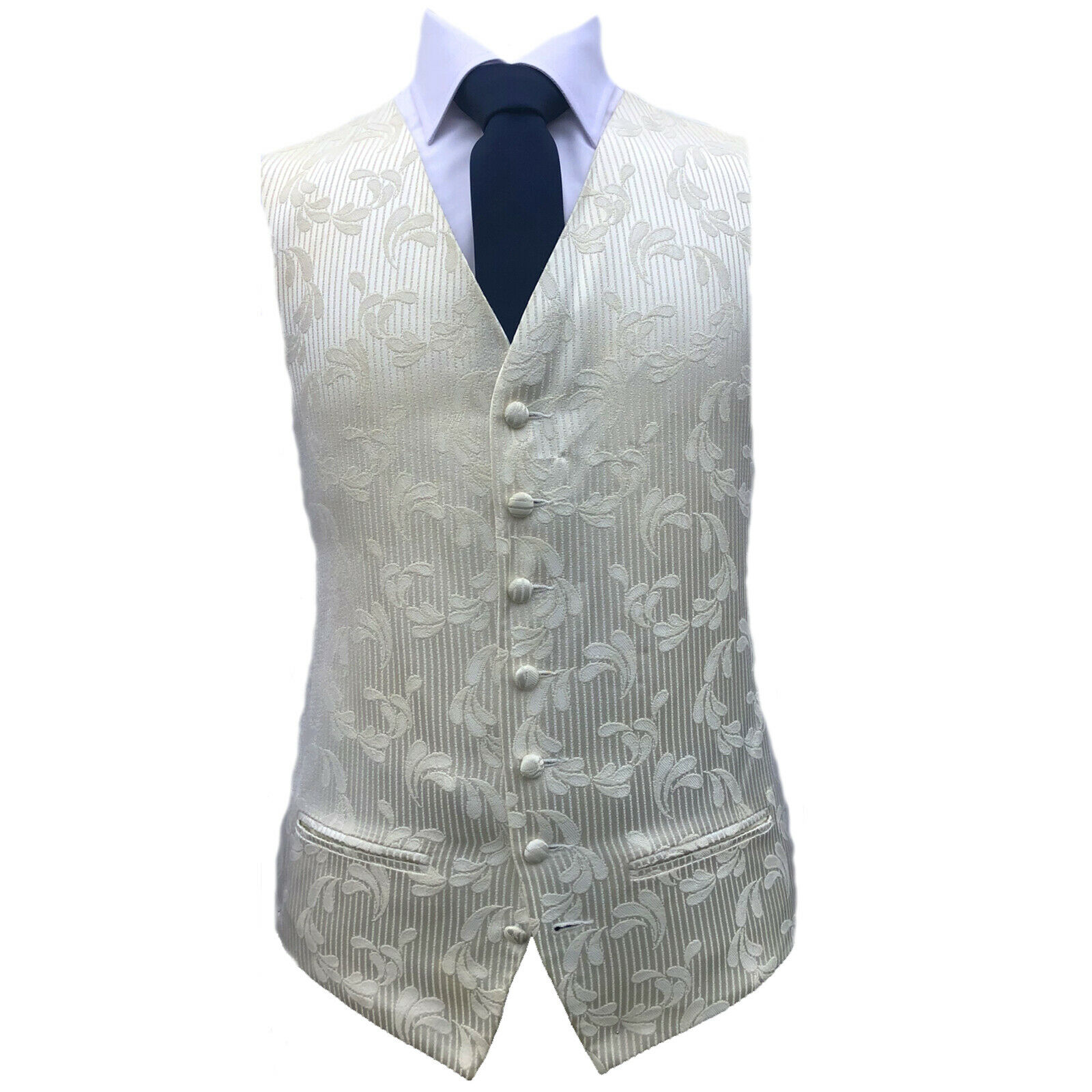 Cream Flower Stripe Waistcoat Vest Wedding Formal UK Mens and Page Boys (A35)