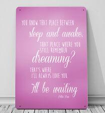 Ti amerò per sempre Peter Pan Citazione Rosa a4 Print metallo segno Decor