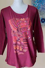 NWT Lucky Brand wom M Elephant Print 3/4 SLeeve Top Shirt Blouse Tee Vine GRA