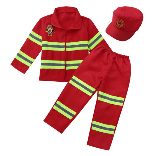 Boys Girls Firefighter Costume Fireman Uniform Kids Halloween Carnival Outfit