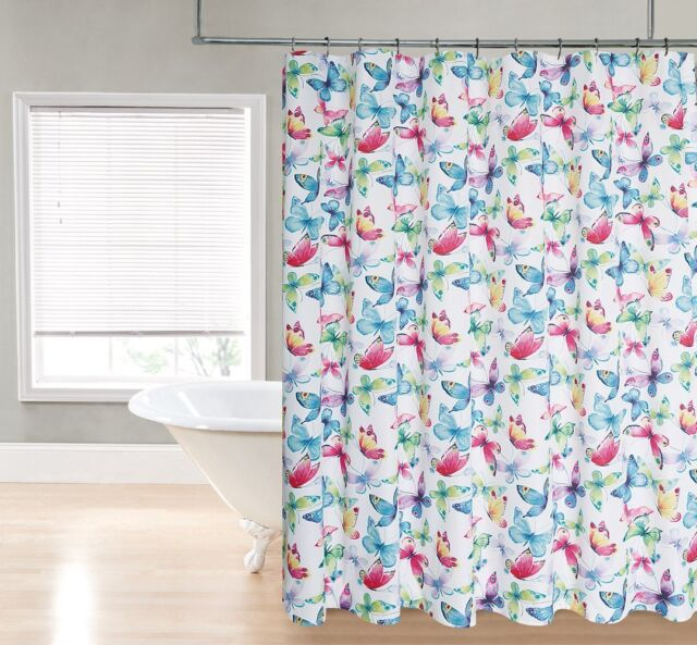 Bright Colorful Butterfly Printed Pattern Fabric Shower Curtain