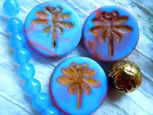 Picasso geprägte Libellen-Buttonperlen 23mm Cornflower Blue /&Rose Marmo 3Stk.