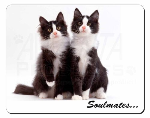 Soulmates' Black, White Kittens Computer Mouse Mat Christmas Gift Idea, SOUL15M