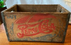 Early Vintage Large Wood Crate Pepsi Cola Double Dot Logo Wilmington Delaware