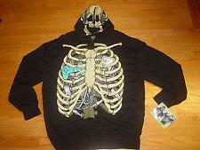 Mens 2XL Skeleton Halloween Costume Hooded Sweatshirt Hoodie XXL Black NEW!