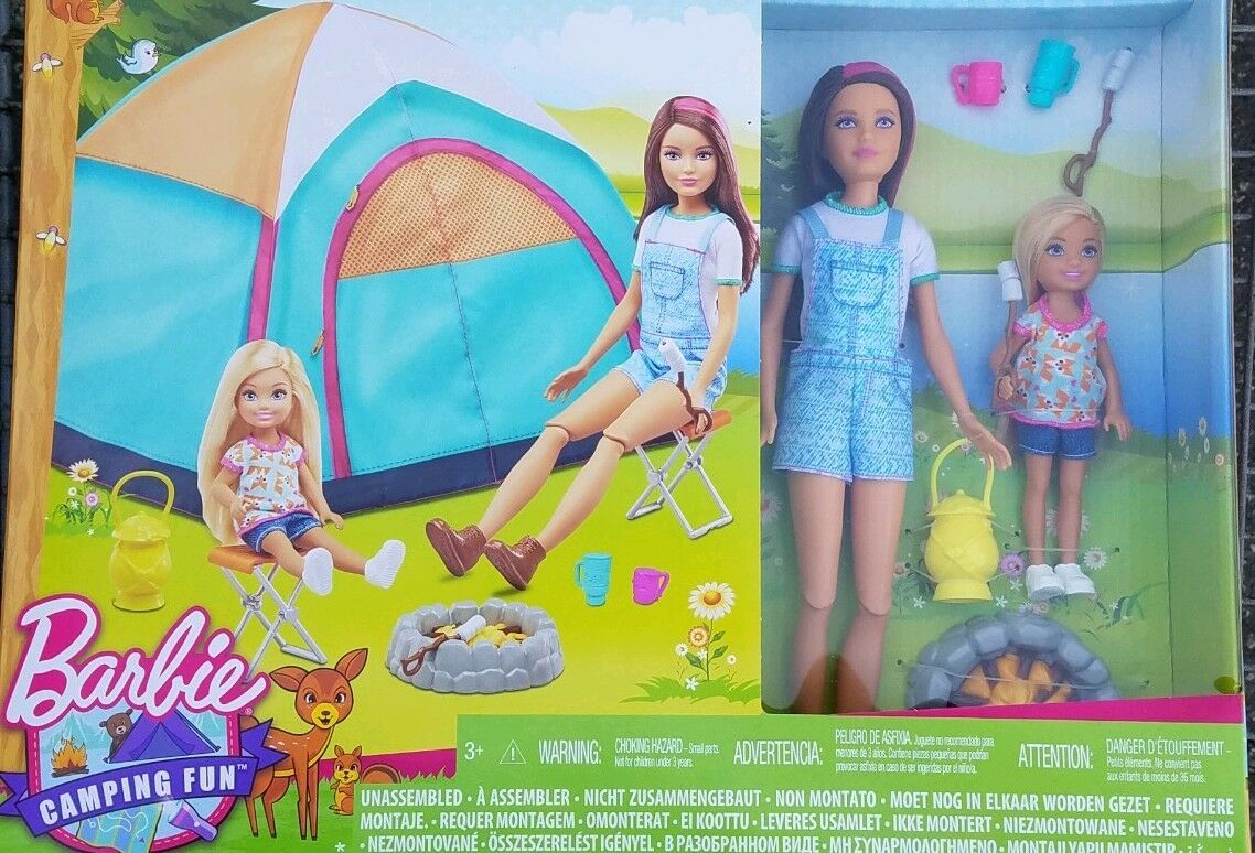 Mattel Barbie Camping Fun Skipper and Chelsea 2 Doll Tent Playset