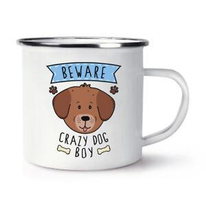 Beware-LOCAS-perro-Nino-Retro-Esmalte-Taza-Divertido-Cachorro-Mascotas