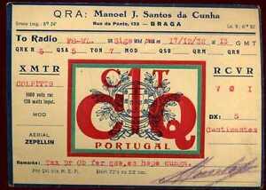 CARD CARTE QSL radio amateur PORTUGAL 1932 ( 186 ) iXBwH8uf-07163216-888416333