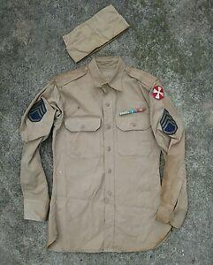 Vtg wwii usmc 8th Army military khaki shirt patch uniform cap hat ... 130f7a61534