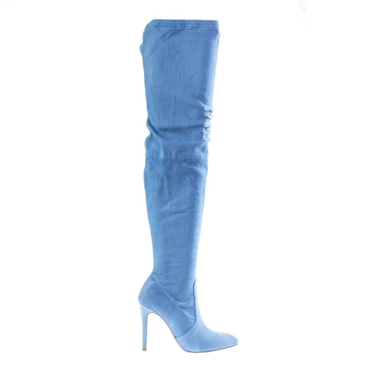 Jobe OTK Over The Knee High High High Heel Dress Boots 2 Destroyed Ripped Holes 03d903