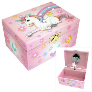 GIRLS PINK MUSICAL UNICORN THEMED JEWELLERY & TRINKET BOX WITH ROTATING FIGURINE