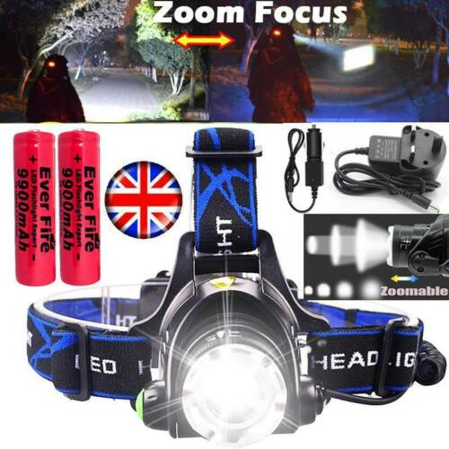 350000LM Zoomable Headlamp Rechargeable T6 LED Headlight Flashlight Head Torch