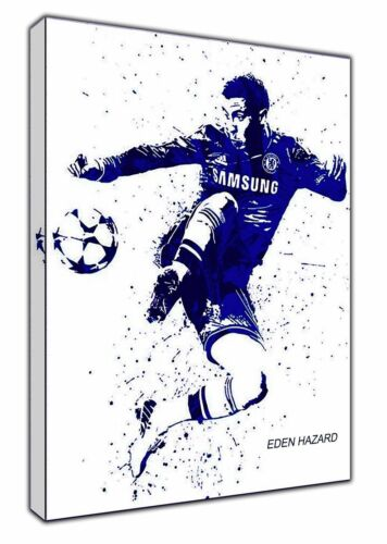 EDEN HAZARD CHELSEA PICTURE PRINT ON WOOD FRAMED CANVAS WALL ART DECORATIO