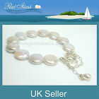White Coin Pearl Bracelet with Magnetic Clasp and Safety Chain