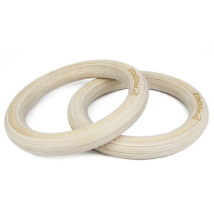 Details About Wooden Gymnastic Rings With Straps Gym Strength Training Pull Up Exercise