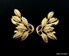 Designer CORO sign. 1960s vergoldete Blätter Clips Ohrclips, edel chic Ohrringe