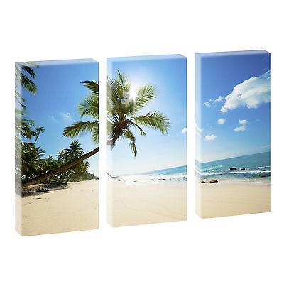 Karibik Bild auf Leinwand Strand/&Meer Poster Wandbild 3-Teiler 40 cm*80 cm 219
