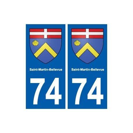 74 Saint-Martin-Bellevue blason autocollant plaque stickers ville arrondis