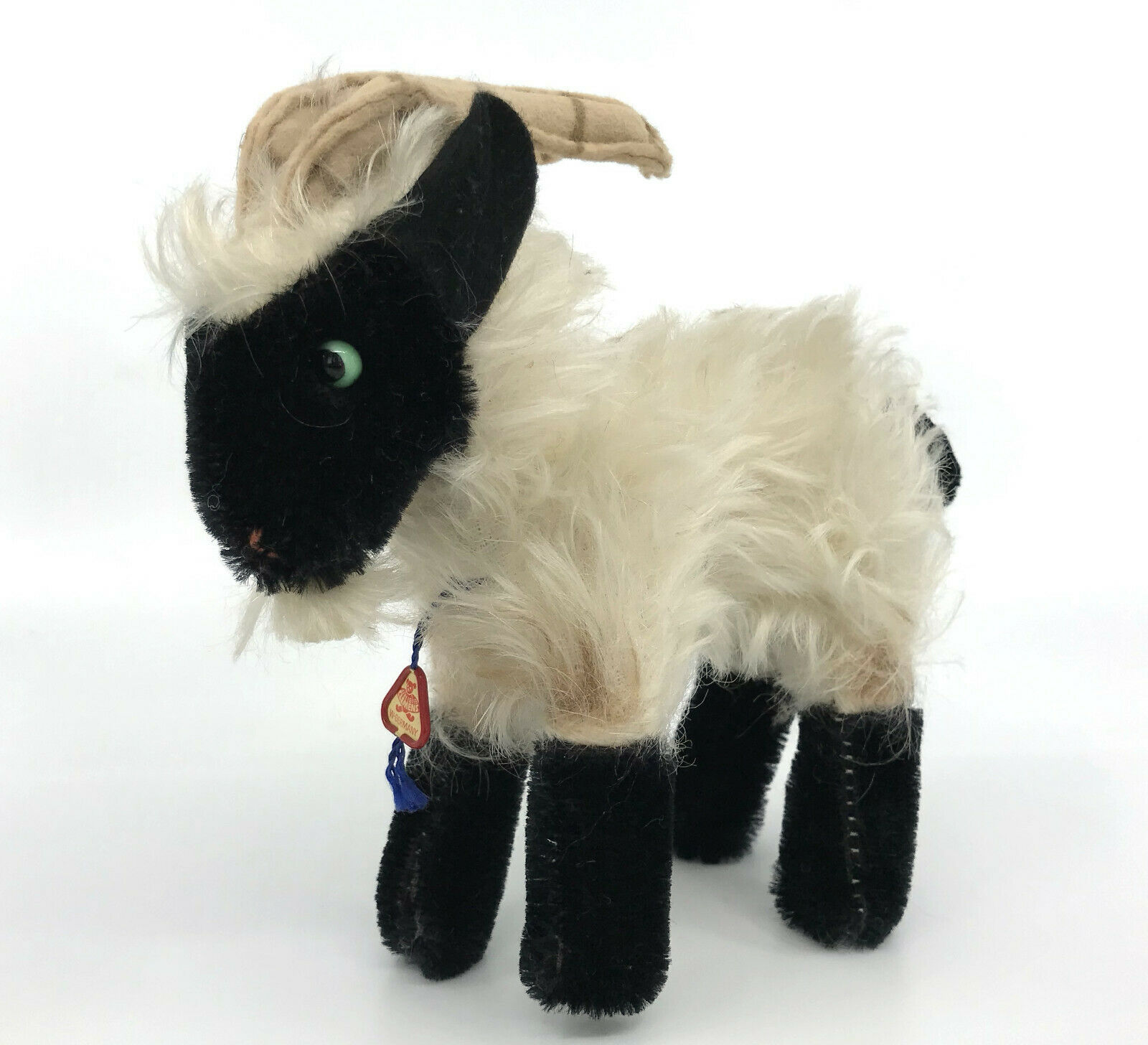CleSies Mountain Sheep Mohair Plush 1960s 14cm 5.5in ID Tag West Germany Vintage
