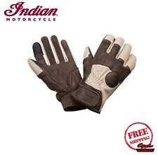 INDIAN MOTORCYCLE MENS BROWN CREAM LEATHER CINDER SUMMER GLOVES size 2X LARGE