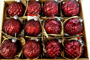6 X Christbaumkugel Weihnachtskugel Clana Christbaumschmuck Glas Rot