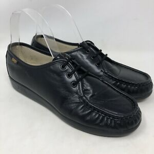 SAS-8M-Shoes-Lace-Up-Black-Leather-Genuine-Hand-Sewn-Comfort-Walking