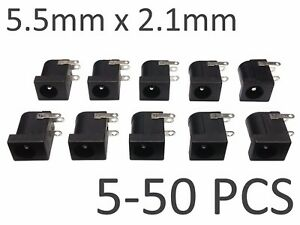 5-50-pcs-Black-5-5mm-x-2-1mm-DC-Power-Barrel-Jack-Socket-PCB-Mount-Connector