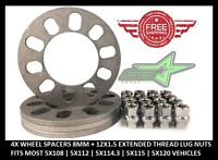 5 Lug Universal Wheel Spacers   8mm Thick + 12x1.5 Extended Thread Lug Nuts