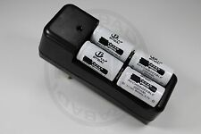 "CHARGEUR ""RAPIDE"" + 4 PILES BATTERIES RECHARGEABLE CR123A 16340 LI-ION 2200mAh"