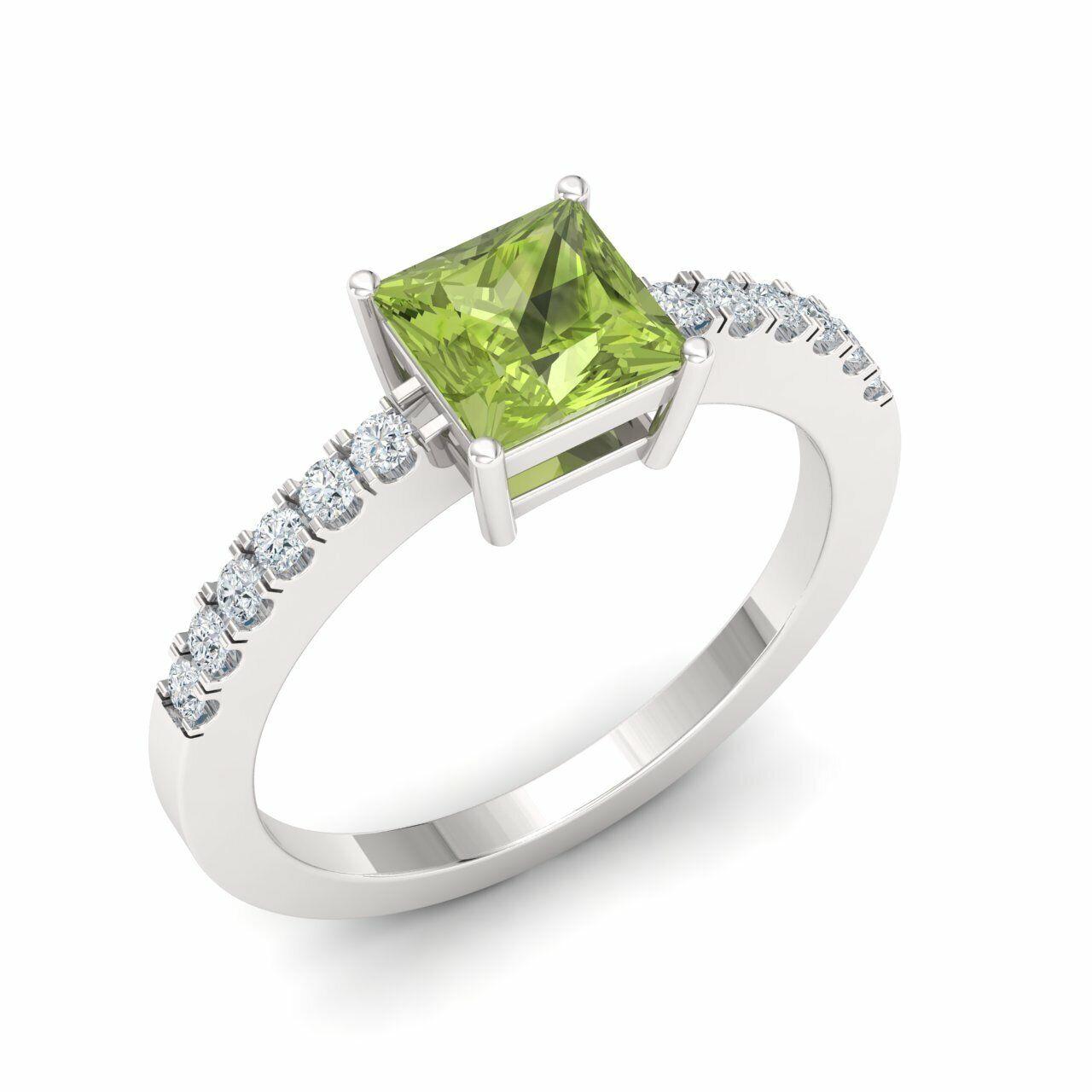 Certified 1.04 Ct Princess Cut Peridot & Diamond Engagement Ring 14K White gold