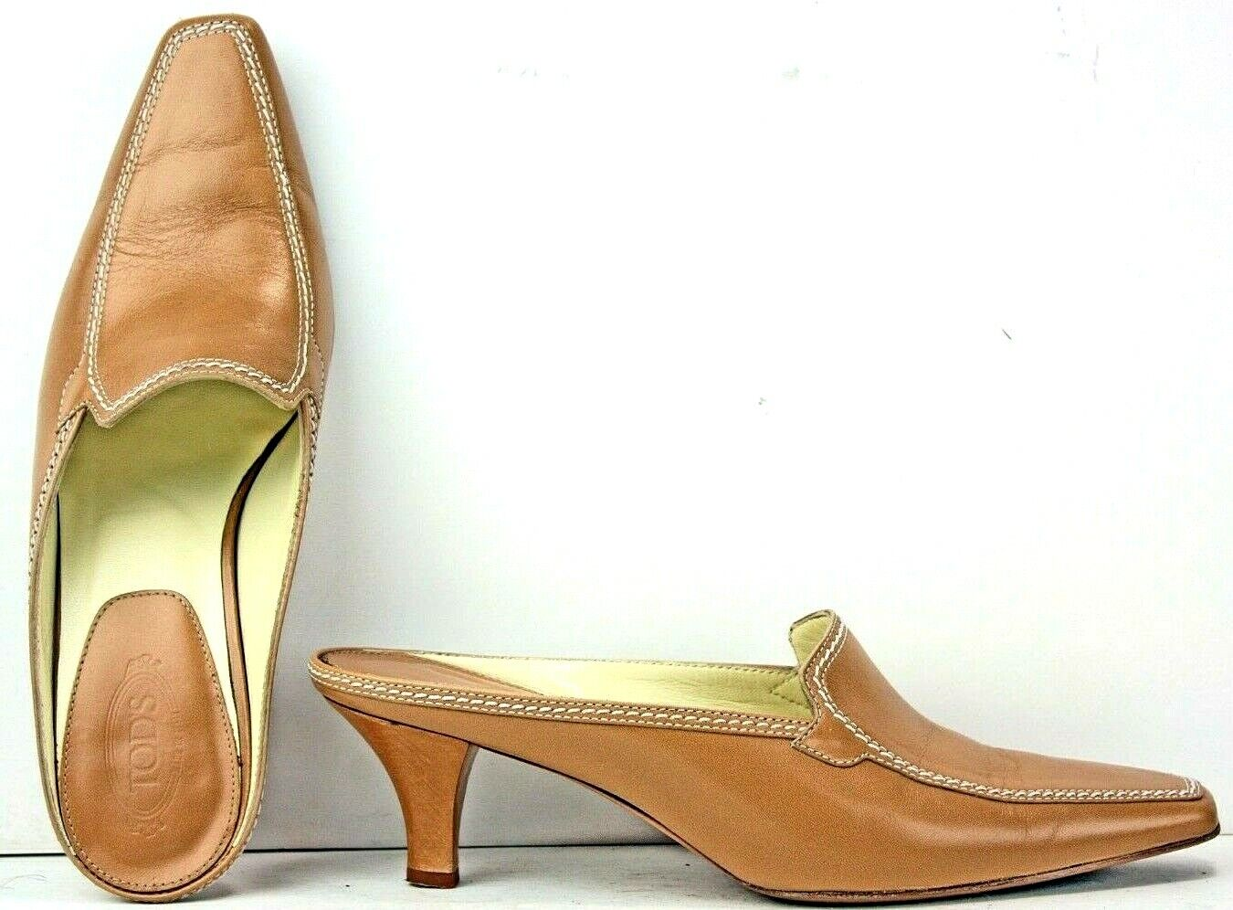 TOD'S donna Mules Dimensione 6 Marroneee Leather Kitten Cone Heels WF13 FW386