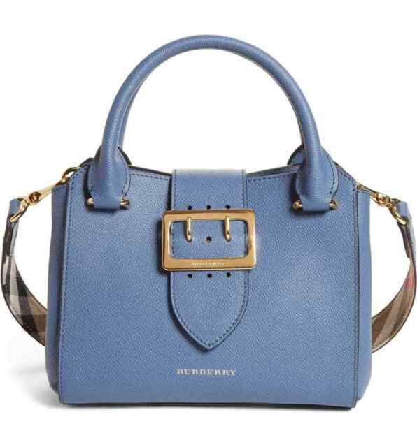 b0415436a87f 100% AUTHENTIC NEW BURBERRY SMALL BUCKLE BLUE LEAHER SATCHEL BAG HANDBAG