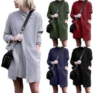 Women-Ladies-Baggy-Sweater-Jumper-Mini-Dress-Winter-Long-Pullover-Top-Pockets-XL